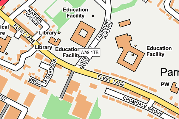 WA9 1TB map - OS OpenMap – Local (Ordnance Survey)
