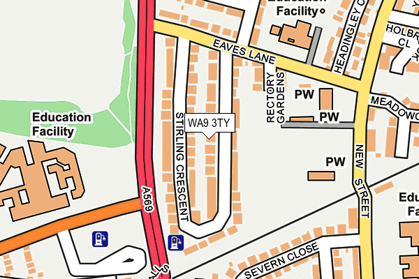 WA9 3TY map - OS OpenMap – Local (Ordnance Survey)