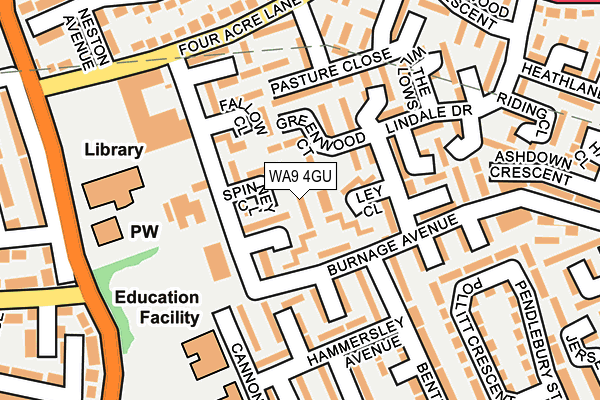 WA9 4GU map - OS OpenMap – Local (Ordnance Survey)