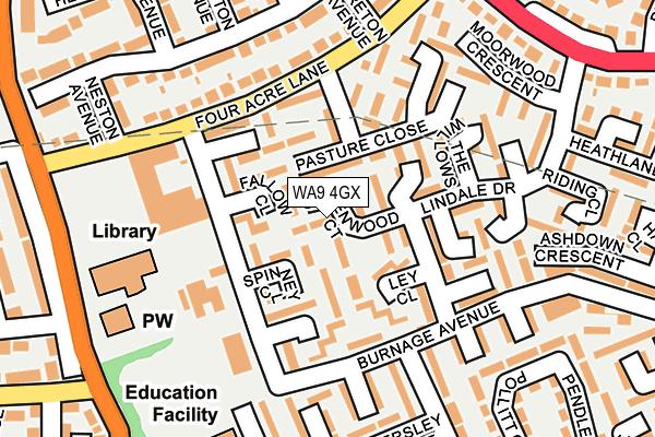 WA9 4GX map - OS OpenMap – Local (Ordnance Survey)