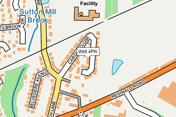 WA9 4PW map - OS OpenMap – Local (Ordnance Survey)
