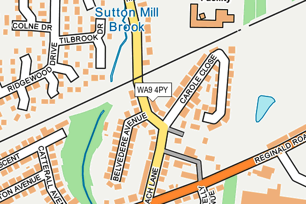 WA9 4PY map - OS OpenMap – Local (Ordnance Survey)