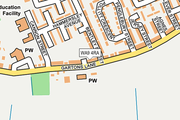 WA9 4RA map - OS OpenMap – Local (Ordnance Survey)
