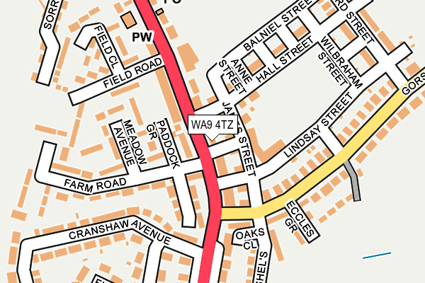 WA9 4TZ map - OS OpenMap – Local (Ordnance Survey)
