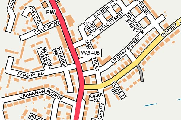 WA9 4UB map - OS OpenMap – Local (Ordnance Survey)