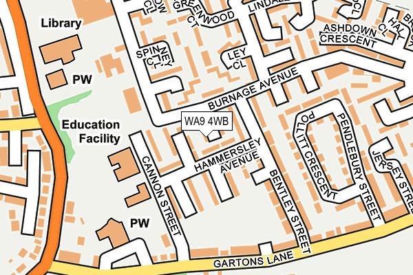 WA9 4WB map - OS OpenMap – Local (Ordnance Survey)