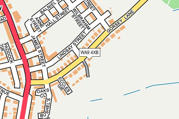 WA9 4XB map - OS OpenMap – Local (Ordnance Survey)