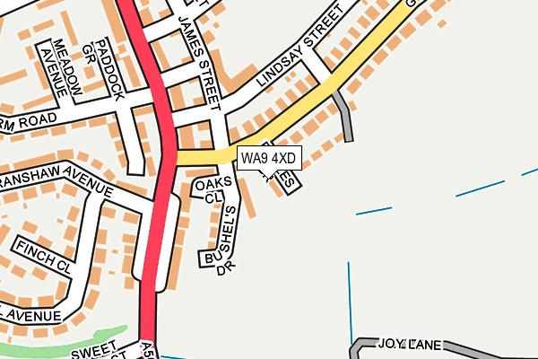 WA9 4XD map - OS OpenMap – Local (Ordnance Survey)