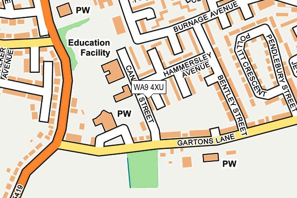 WA9 4XU map - OS OpenMap – Local (Ordnance Survey)