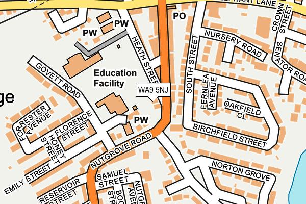WA9 5NJ map - OS OpenMap – Local (Ordnance Survey)