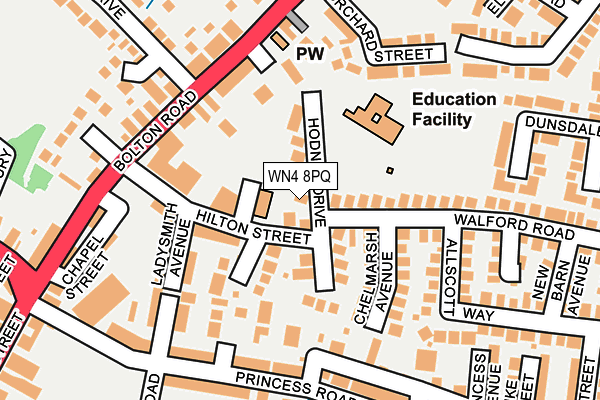 WN4 8PQ map - OS OpenMap – Local (Ordnance Survey)