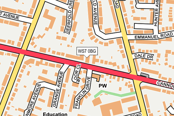 WS7 0BG map - OS OpenMap – Local (Ordnance Survey)